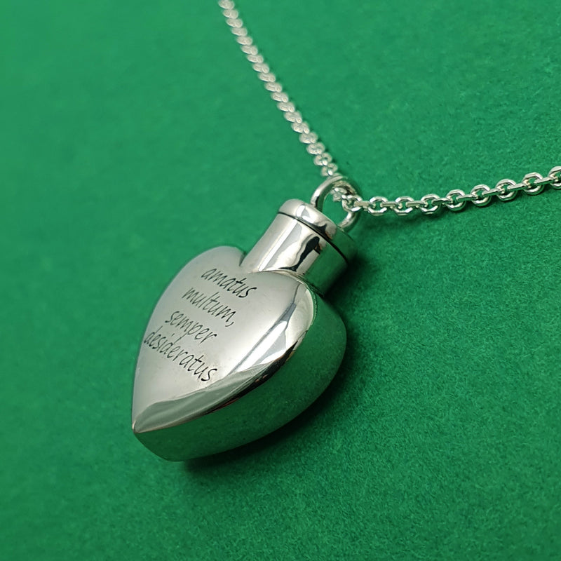 Memento silver memorial ashes heart necklace jewellery