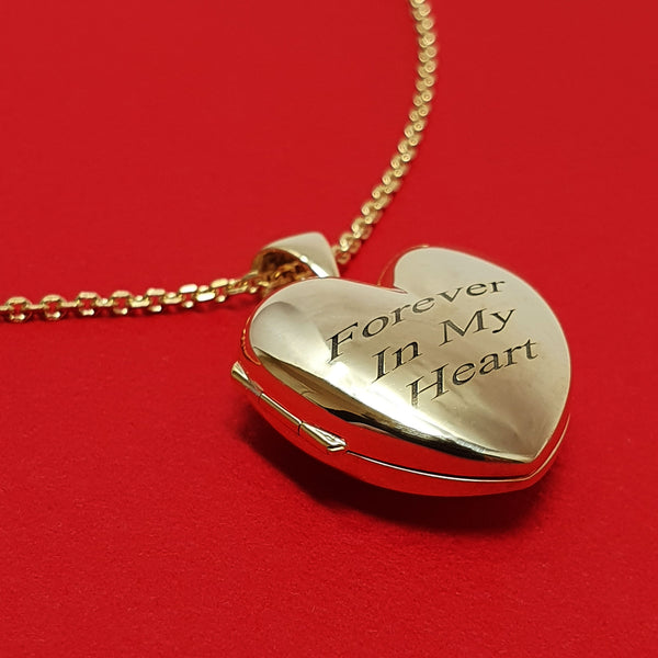 Memento 9ct yellow gold personalised heart photo locket necklace jewellery