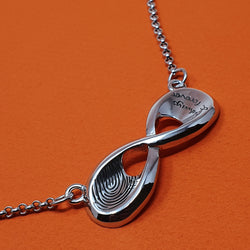 Memento silver personalised fingerprint signature infinity necklace jewellery