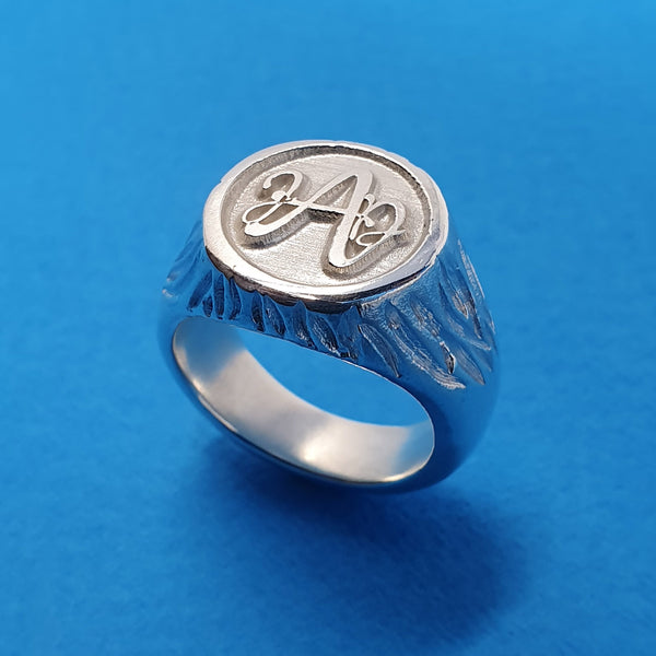 Memento silver personalised signature monogram initial ring jewellery