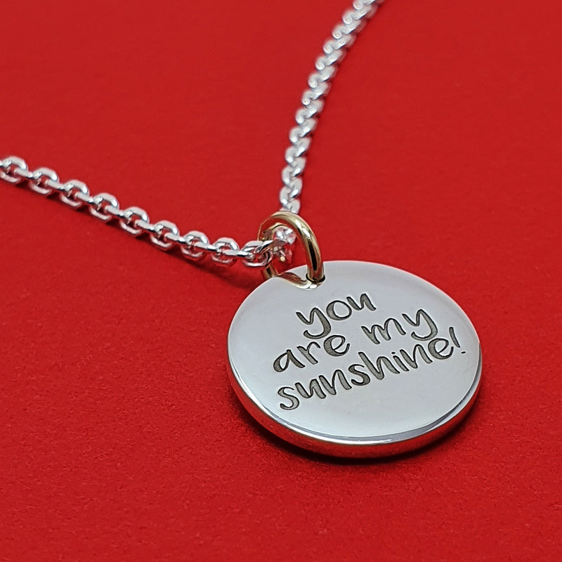 Memento signature chunky button silver & 9ct gold personalised special message necklace jewellery