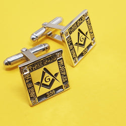 Memento silver personalised masonic template with diamond signature square hinged cufflinks jewellery