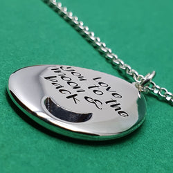 Memento silver personalised special message signature moon pebble necklace  jewellery