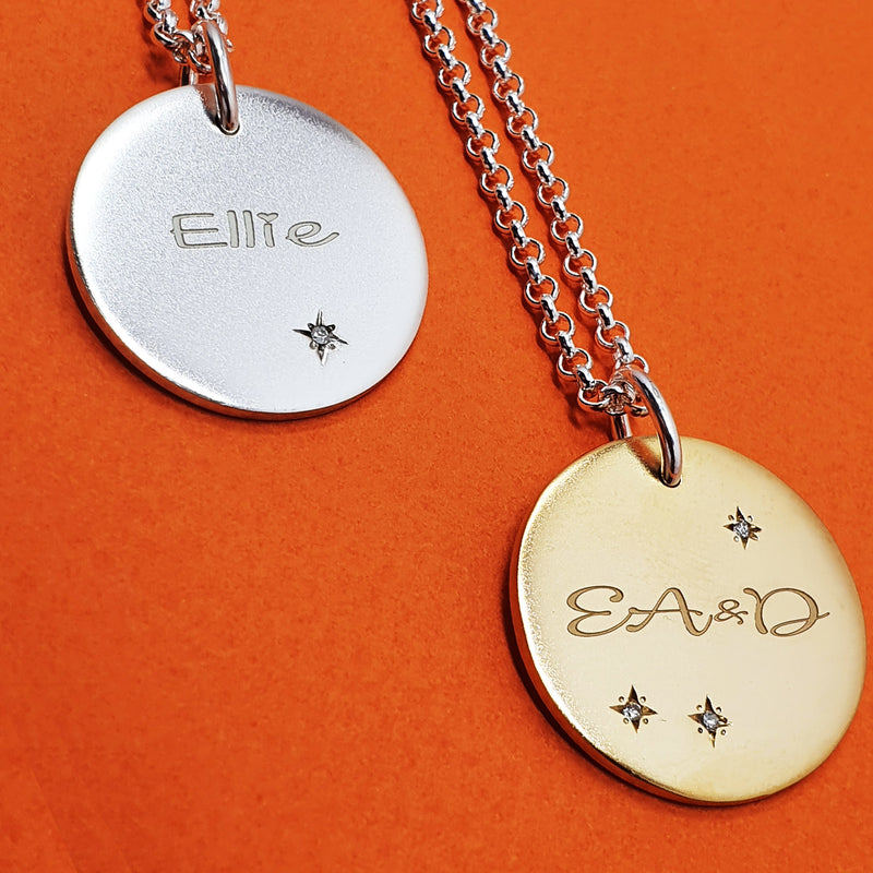 Memento silver & 9ct yellow gold plated personalised names & initials signature chunky button necklace jewellery