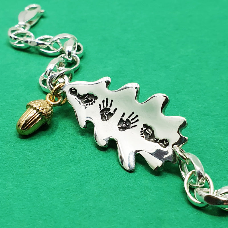 Memento silver personalised handprint & footprint signature oak leaf & acorn bracelet jewellery