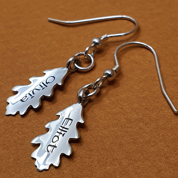 Memento silver personalised special message signature oak leaf earring jewellery