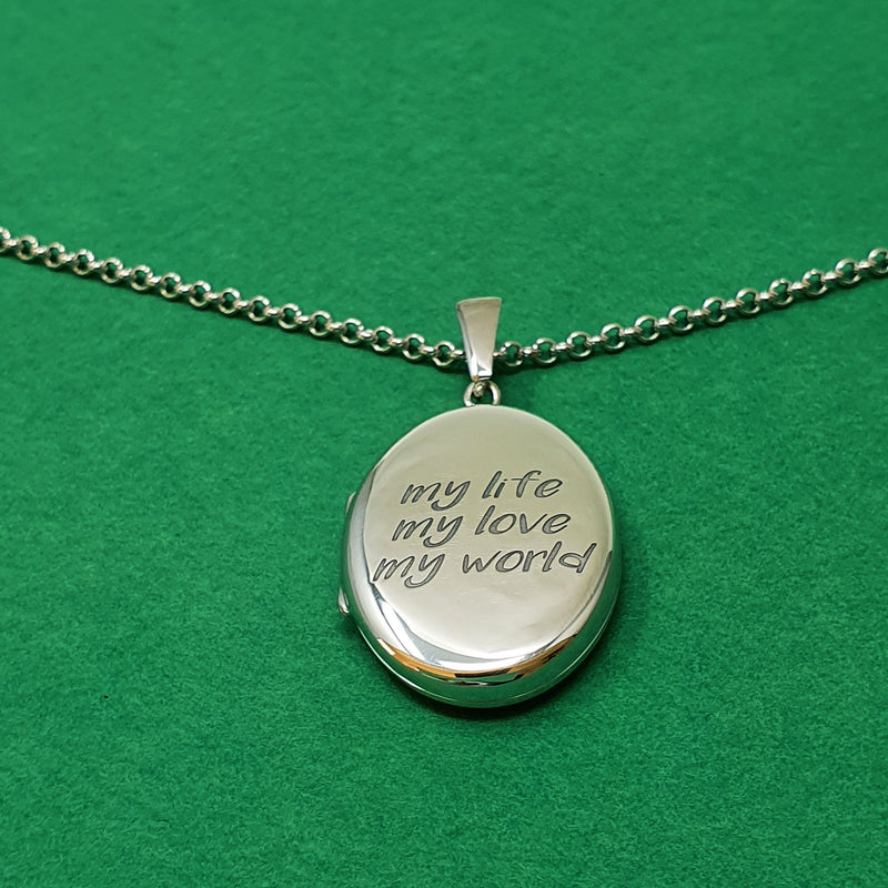 Memento silver personalised oval photo locket necklace jewellery