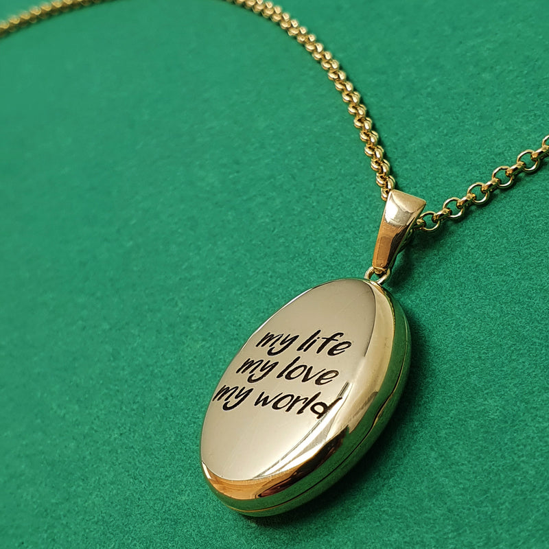 Memento 9ct yellow gold plated silver personalised oval photo locket necklace jewellery