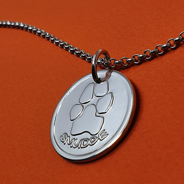Memento silver personalised pawprint signature chunky button necklace jewellery