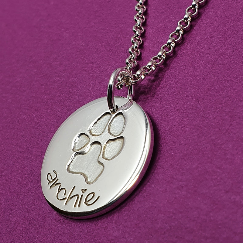 Memento silver personalised inked pawprint signature chunky button necklace jewellery