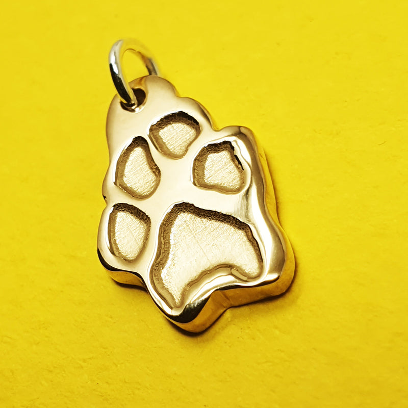 Memento 9ct yellow gold personalised pawprint charm jewellery