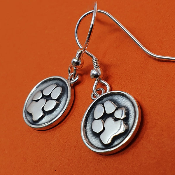 Memento signature button silver personalised pawprint earring jewellery
