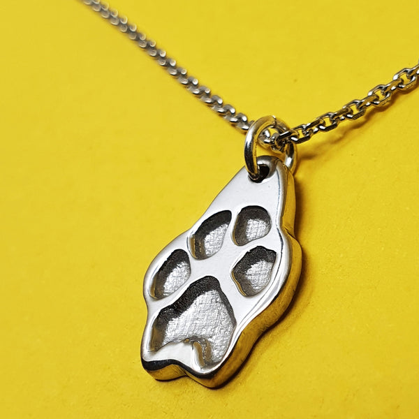 Memento silver personalised pawprint necklace jewellery