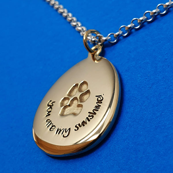 Memento 9ct yellow gold plated personalised pawprint signature pebble necklace jewellery
