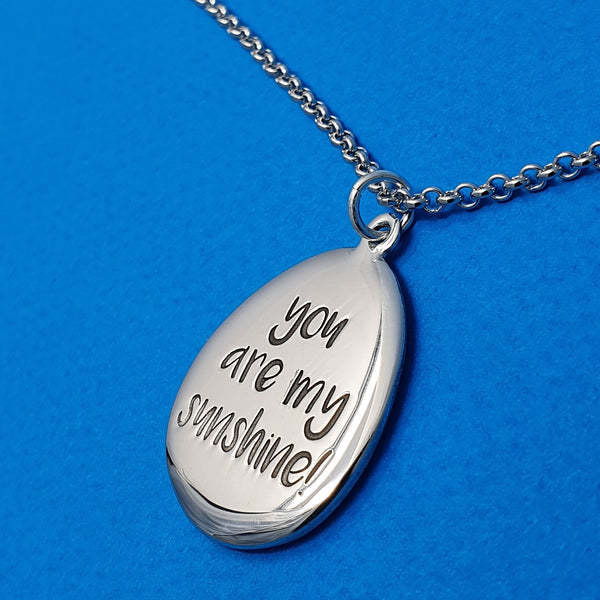 Memento silver personalised special message signature pebble necklace jewellery
