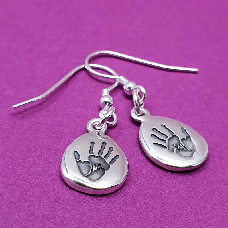 Memento silver personalised handprint & footprint signature pebble earring  jewellery