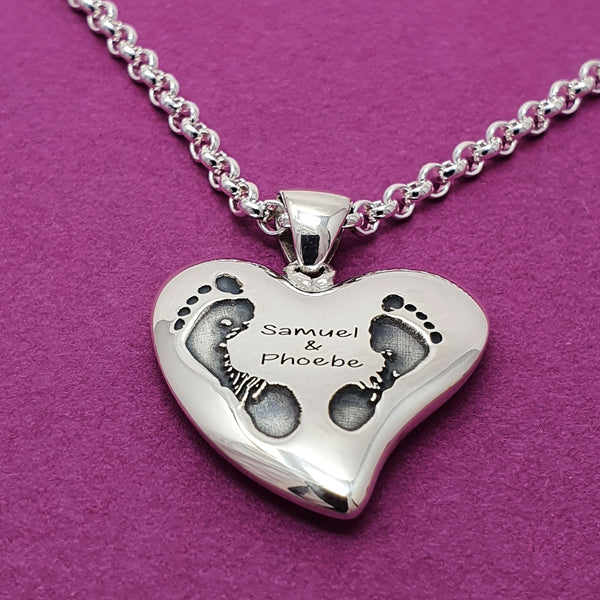Memento silver personalised handprint & footprint signature heart necklace jewellery