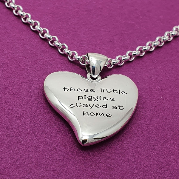 Memento silver personalised special message signature heart necklace jewellery