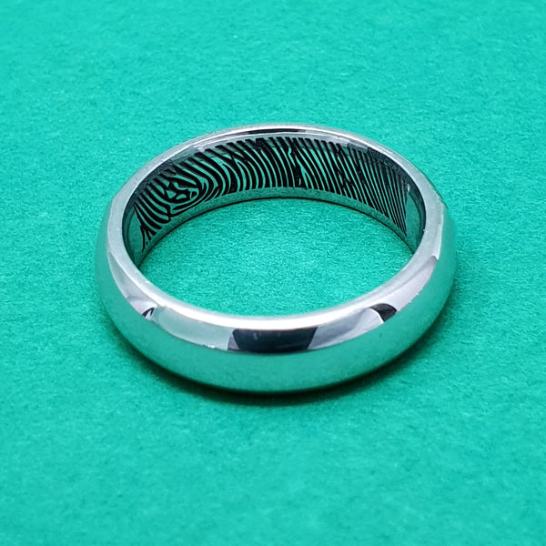 Memento Silver Personalised Secret Fingerprint D Profile Wide Ring Jewellery