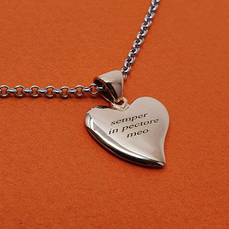 Memento silver & 9ct rose gold plated personalised special message small signature heart necklace jewellery