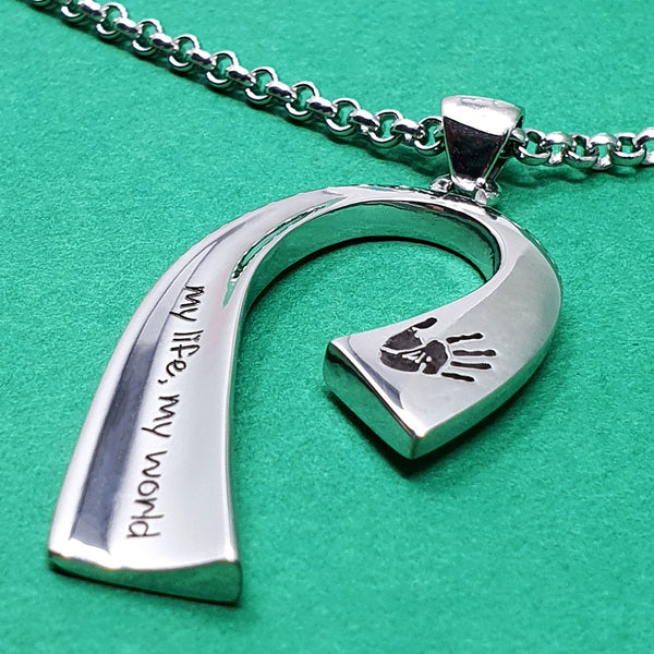 Memento silver personalised handprint & footprint signature ribbon necklace jewellery