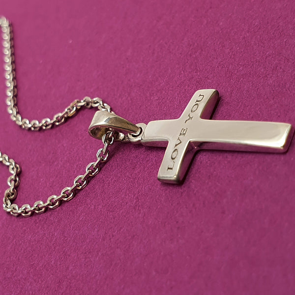 Memento silver personalised cross necklace jewellery