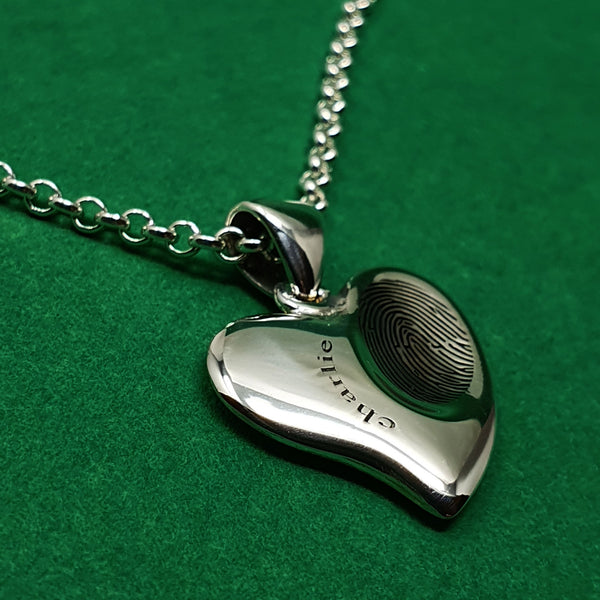 Memento silver personalised signature fingerprint small heart necklace jewellery