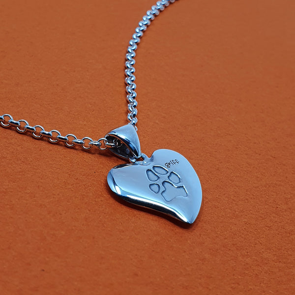 Memento silver personalised pawprint small signature heart necklace jewellery