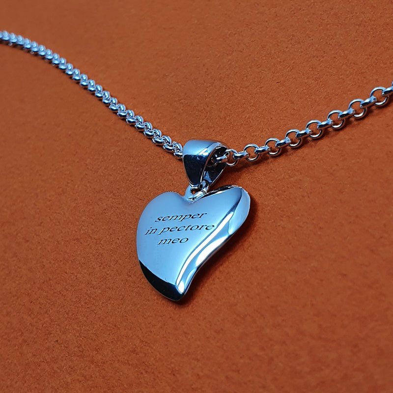 Memento silver personalised special message small signature heart necklace jewellery