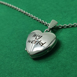 Memento silver personalised small heart photo locket necklace jewellery