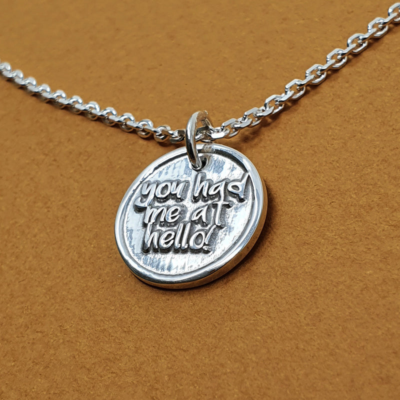 Memento signature chunky button silver personalised special message necklace jewellery