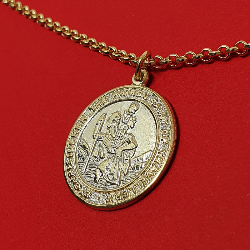 Memento 9ct gold plated personalised handprint & footprint st christopher necklace jewellery