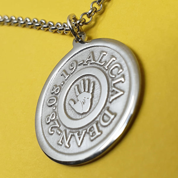 Memento silver personalised handprint & footprint st christopher necklace jewellery