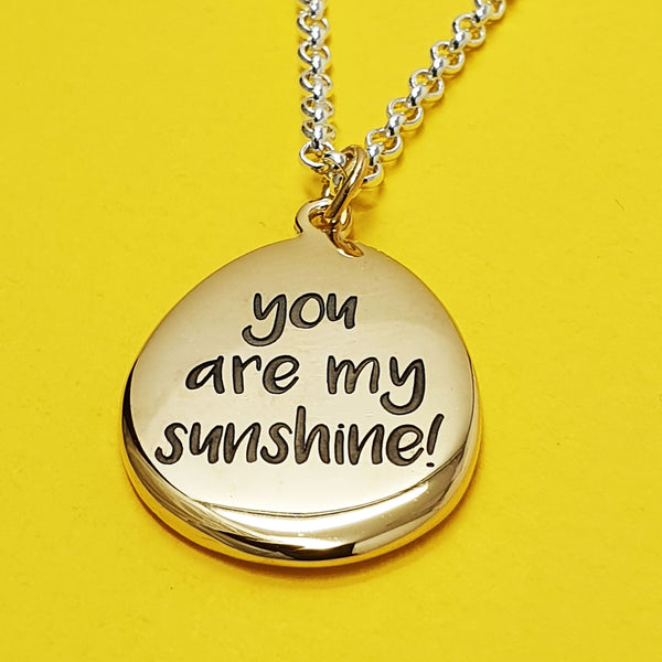Memento 9ct yellow gold plated personalised special message signature pebble necklace jewellery