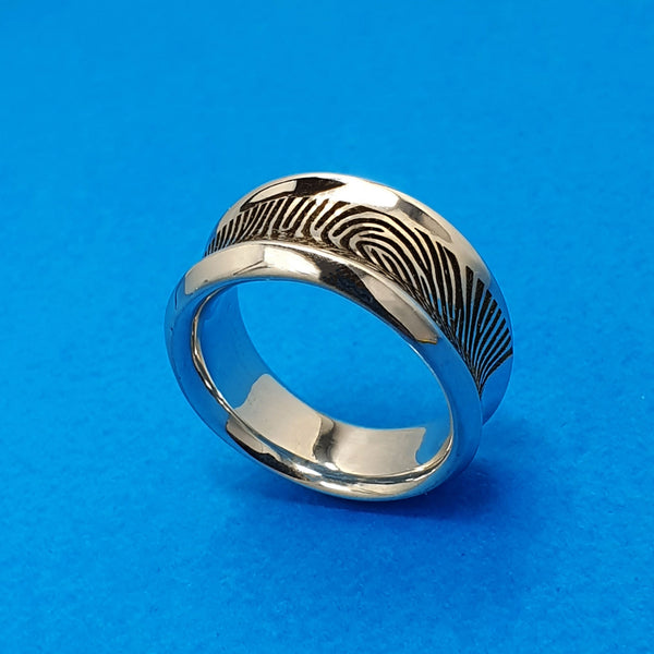 Memento silver personalised fingerprint signature tapered ring jewellery