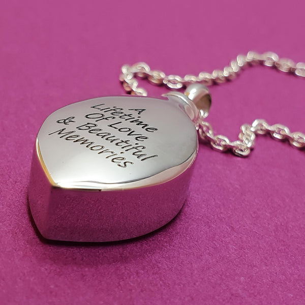 Memento silver memorial ashes necklace jewellery
