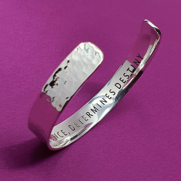 Memento silver personalised signature hammered message cuff jewellery