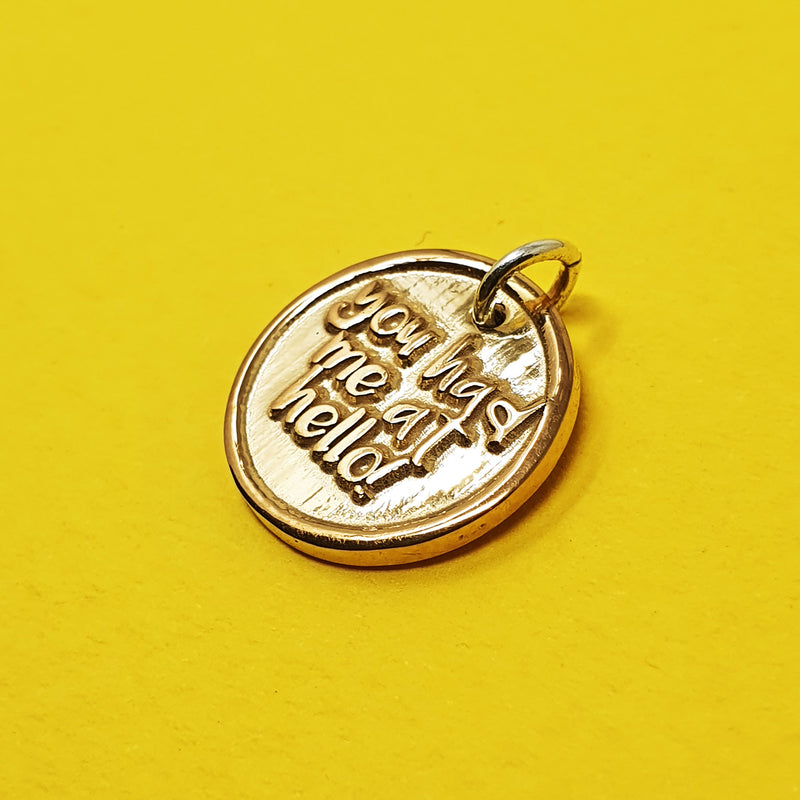 Memento 9ct yellow gold plated personalised special message signature chunky button charm jewellery