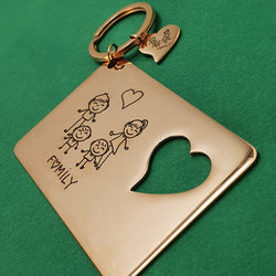 Memento Rose Gold Plated Steel Personalised Card & Keyring Set