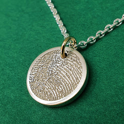 Memento silver & 9ct gold personalised fingerprint signature chunky button necklace jewellery