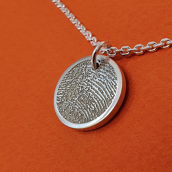 Memento silver personalised fingerprint signature chunky button necklace jewellery