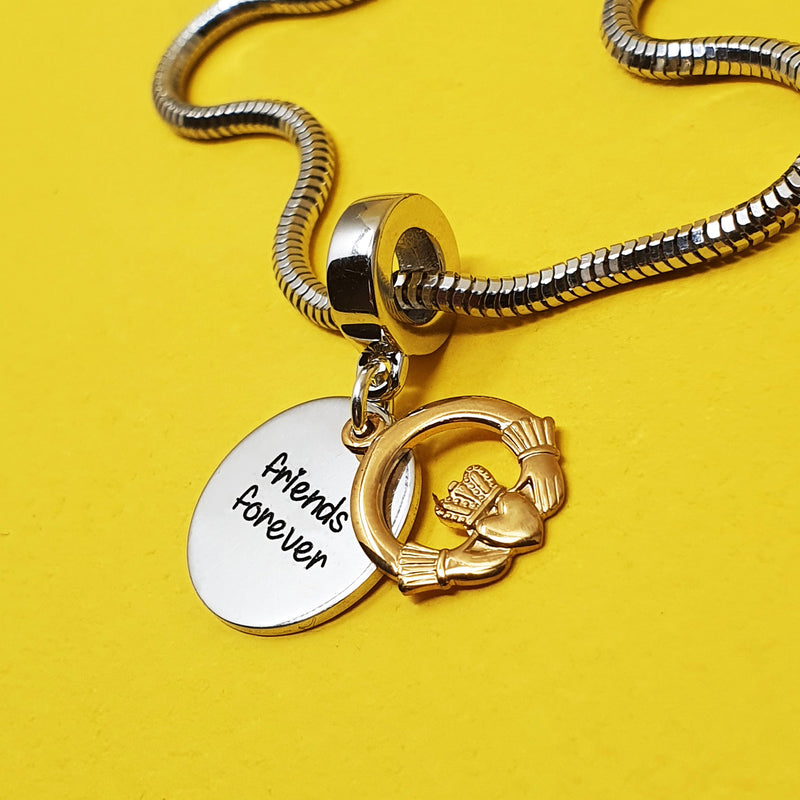 Memento Silver 9ct gold plated Personalised Special Message Claddagh Charm Jewellery