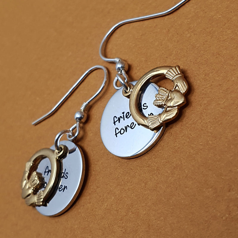 Memento 9ct Yellow Gold Plated & Silver Personalised Special Message Claddagh Earring Jewellery
