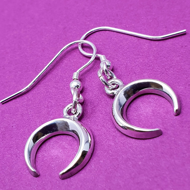 Memento silver personalised special message signature crescent earring  jewellery