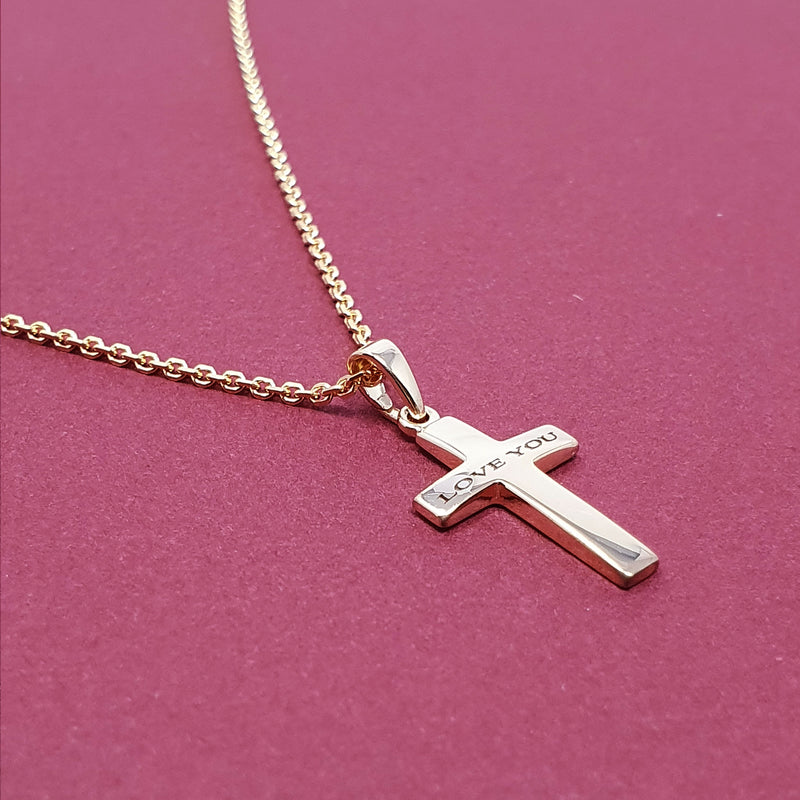 Memento 9ct yellow gold plated silver personalised cross necklace jewellery