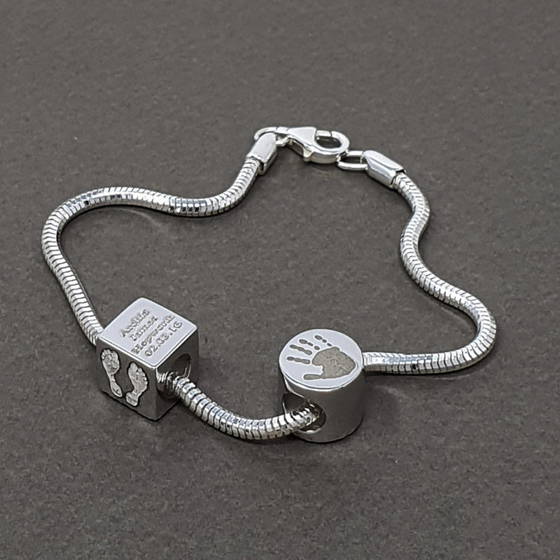 Memento silver personalised special message cube bead bracelet jewellery