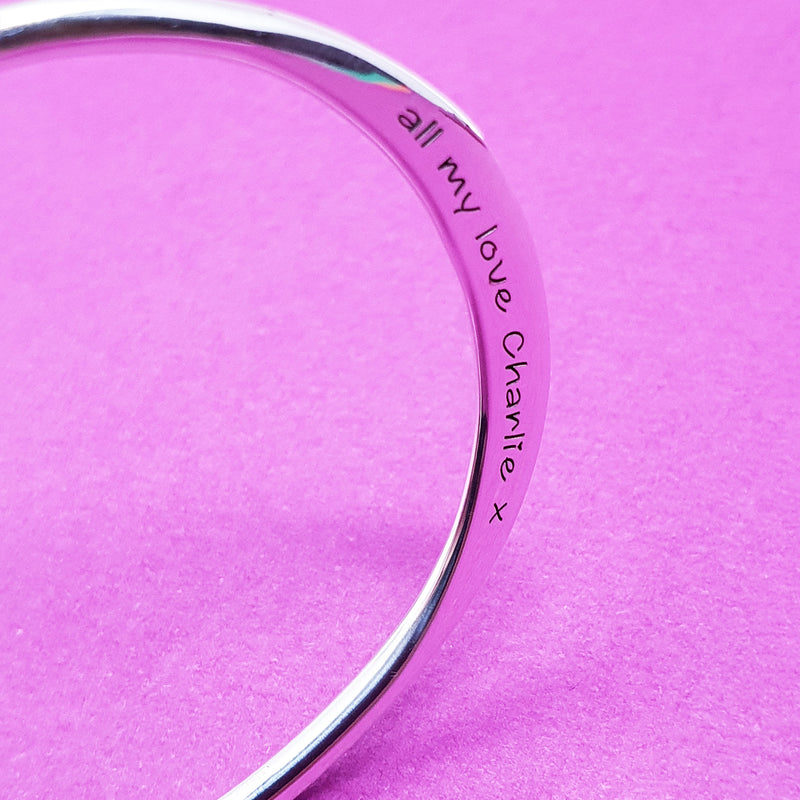 Memento silver personalised torc bangle jewellery