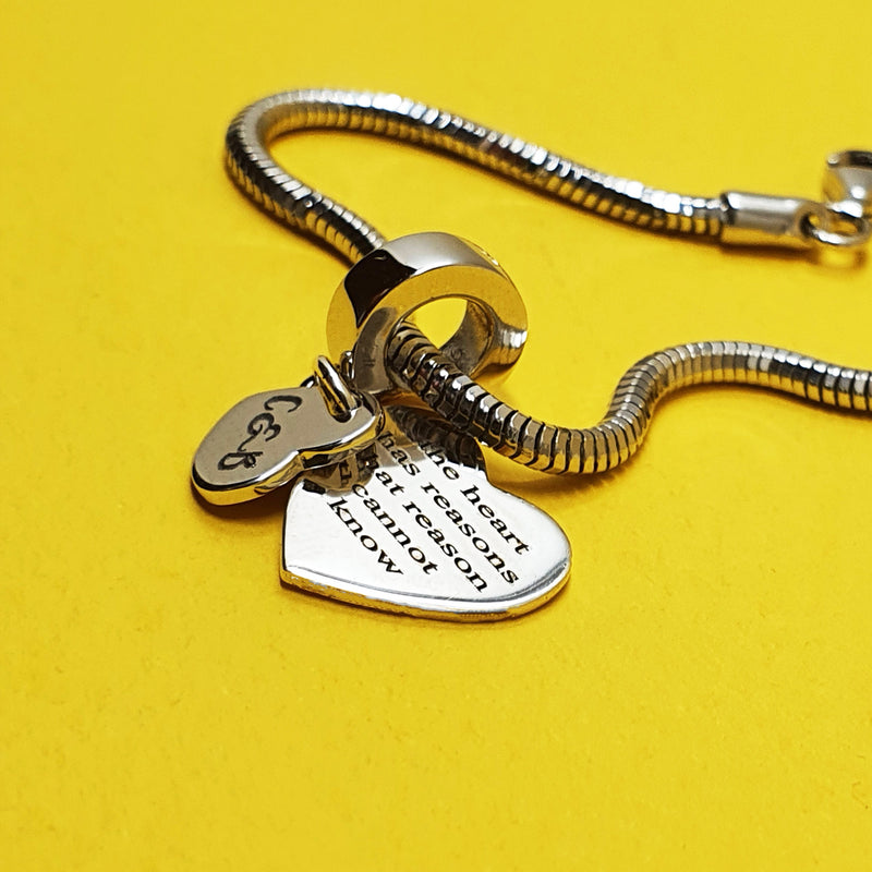 Memento Silver Personalised Special Message Double Heart Charm Jewellery