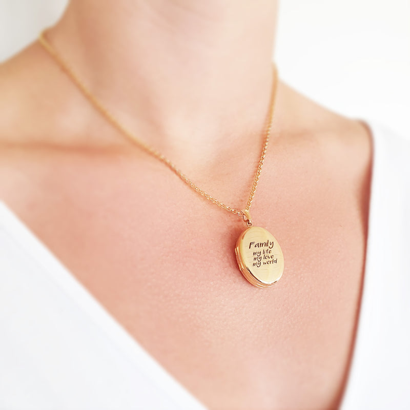 Memento 9ct yellow gold plated personalised family photo locket necklace jewellery