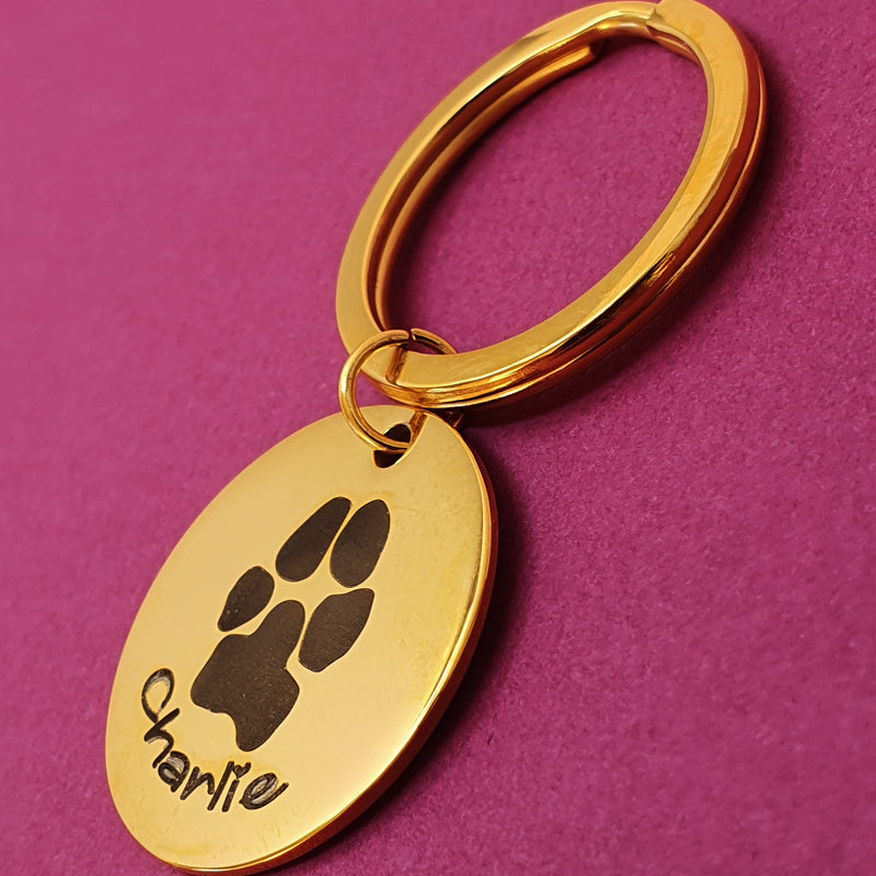 Memento Yellow Gold Plated Steel Personalised Pawprint Circle Keyring
